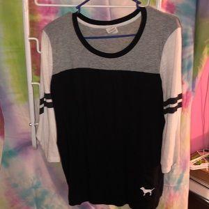 PINK black white and grey quarter sleeve shirt
